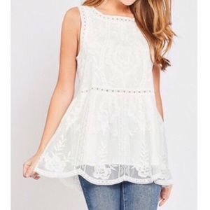 NWT White Lace Overlay Floral Embroidered Top MED